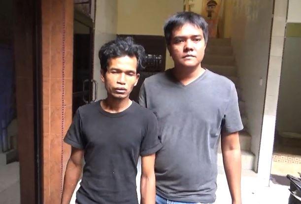 Pelaku pencurian modus becak hantu, Senin (27/1/2020) (Foto:iNews/ Andi)