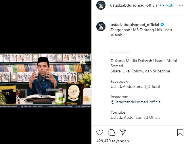 Kata Ustaz Abdul Somad soal Polemik Lirik Lagu Aisyah ...