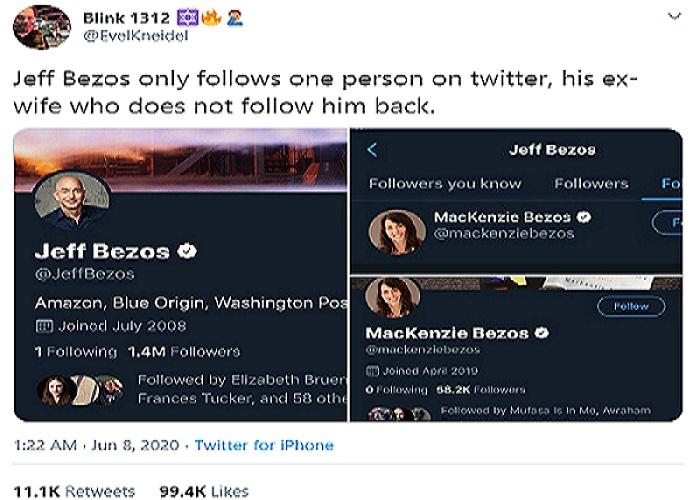 Jeff Bezos tidak di-follow balik oleh akun twitter mantan istrinya, MacKenzie