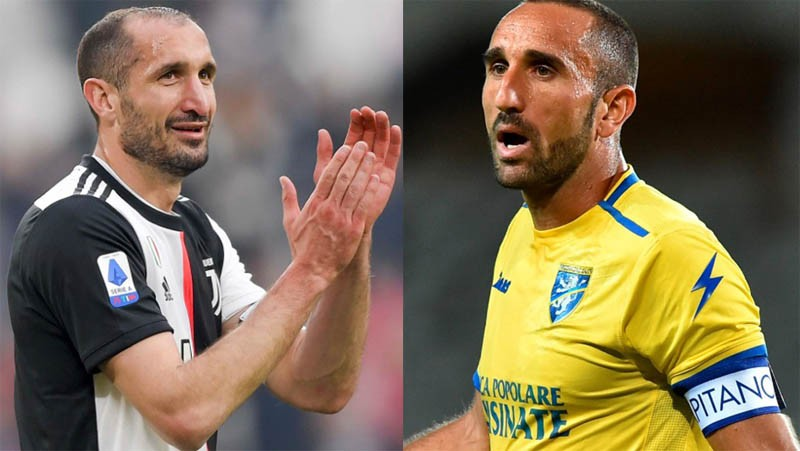 Giorgio Chiellini (kiri) dan Cristian Molinaro punya wajah mirip. (Foto: Sky Sports)