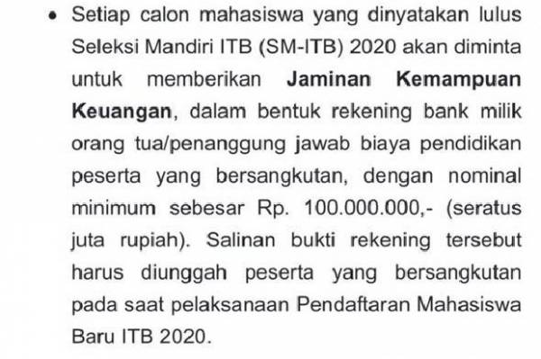 Hasil tangkap layar laman resmi ITB untuk penerimaan calon mahasiswa baru untuk seleksi mandiri. (Foto: Sindonews).