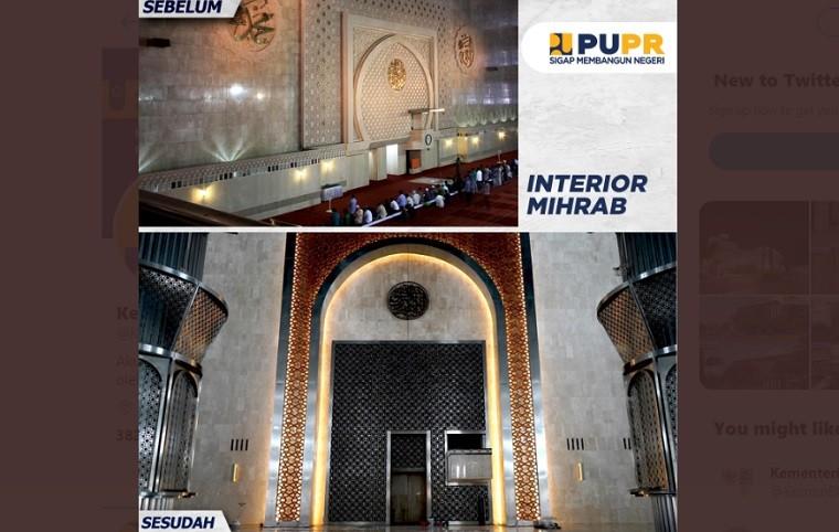 Masjid Istiqlal setelah renovasi. (Foto: Twitter Kementerian PUPR)