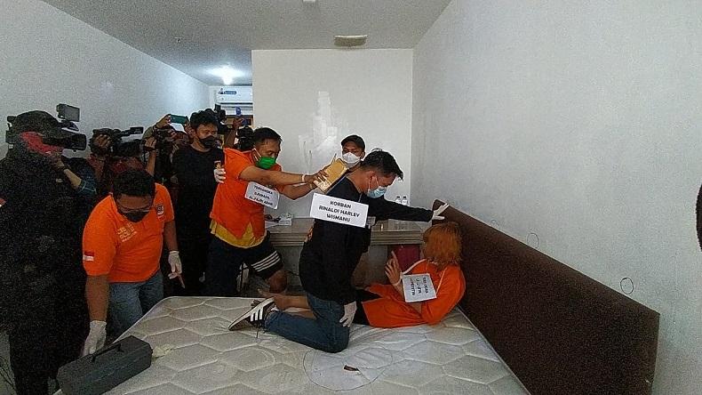 Reka adegan saat pelaku membunuh korban. (Foto: Istimewa).