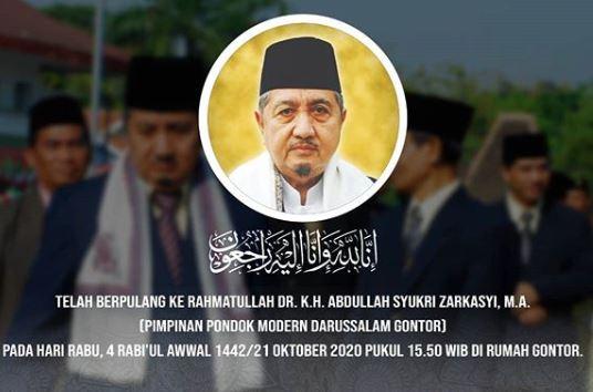 Pimpinan Pondok Pesantren Modern Darussalam Gontor KH Abdullah Syukri Zarkasyi wafat, Rabu (21/10/2020). (Foto: ist)