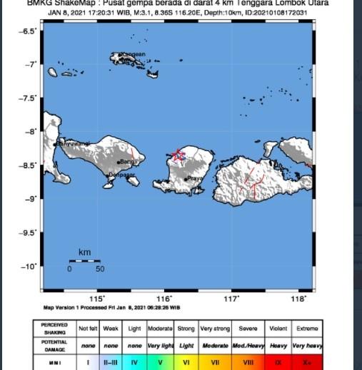 Gempa terkini Magnitudo 3,1 guncang Lombok Utara, NTB. (Foto: ist)