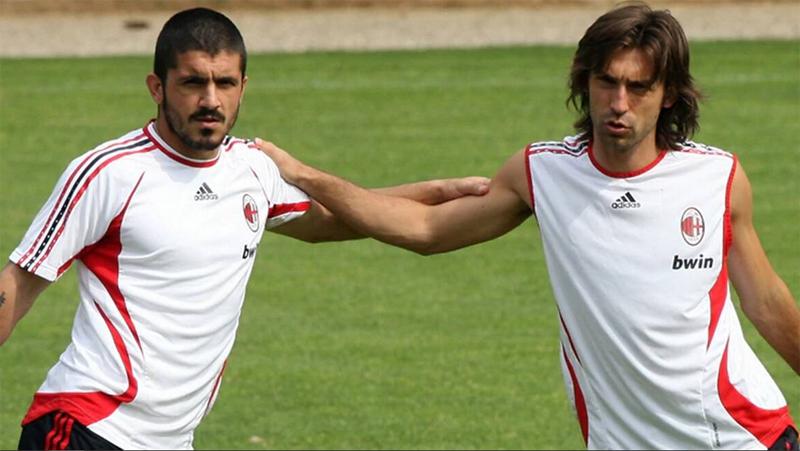 Gennaro Gattuso (kiri) dan Andrea Pirlo menjadi bagian sukses AC Milan di era 2000-an. (Foto: Indianexpress)