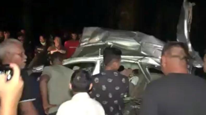 Kecelakaan maut di Tebing Tinggi, Sumut. Sekeluarga tewas (Abdullah Sani Hasibuan/iNews)