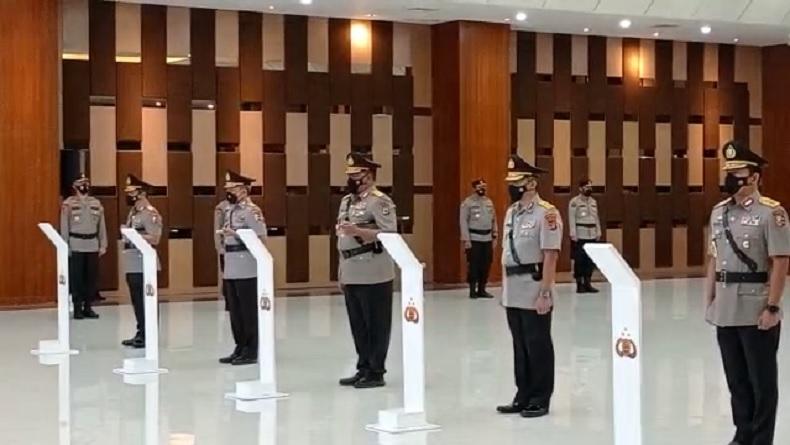 Kapolri Jenderal Pol Listyo Sigit Prabowo memimpin sertijab pejabat Polri, Rabu (24/2/2021). (Foto: Puteranegara Batubara).