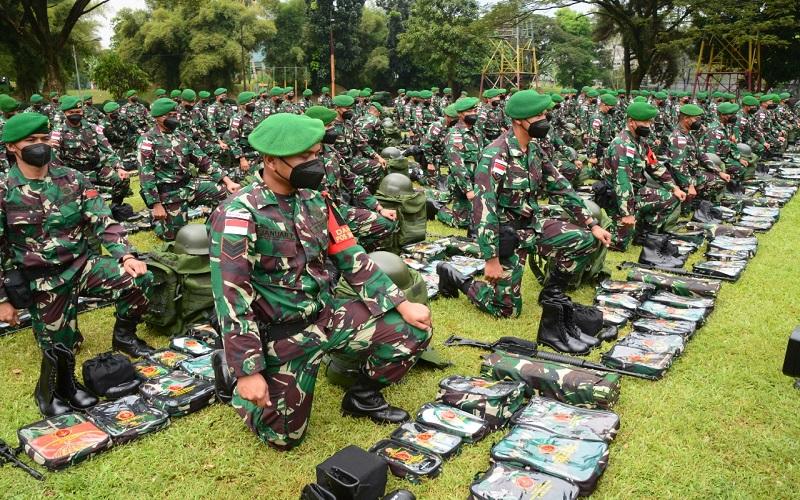 Prajurit Yonif 315/Garuda berjuluk Pasukan Setan telah siap diberangkatkan untuk melaksanakan tugas di daerah rawan Papua. (Foto: Pendam Siliwangi)