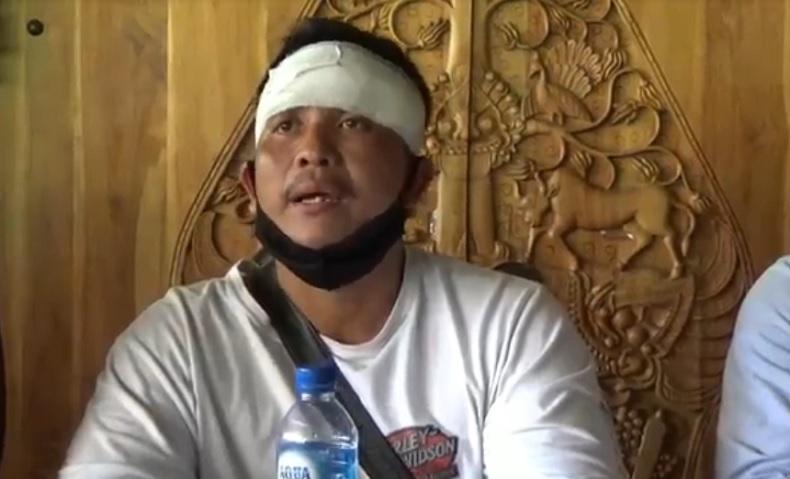 Ketut Widiada, kakak Gede Budiarsana yang tewas dibacok debt collector di Bali. (Foto: iNews/Indira Arri)