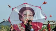 Layang-Layang Megawati Soekarnoputri Meriahkan Lomba HUT ke-75 RI
