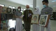 Pelajar SMPN 1 Semarang Bikin Lukisan Jokowi dari Limbah Kulit Bawang Putih