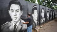 Deretan Wajah Pahlawan Nasional Hiasi Tembok di Cipondoh