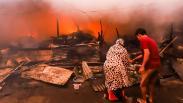 Kebakaran Permukiman Warga di Tanah Abang, Asap Hitam Membubung Tinggi
