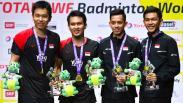 Ekspresi Ahsan/Hendra Menang Kejuaraan Dunia Bulu Tangkis 2019