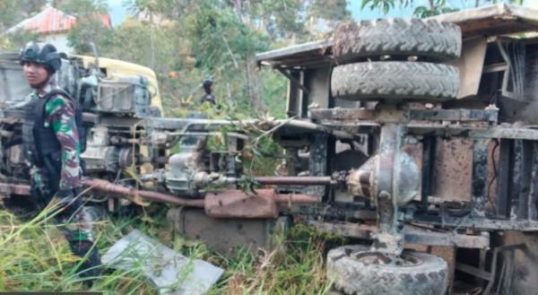 Truk Pasukan Raider Masuk Jurang di Intan Jaya Papua Diduga akibat Rem Blong