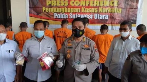 Polda Sulut Ungkap Lima Kasus Narkoba dalam 11 Hari dan Tangkap 8 Tersangka
