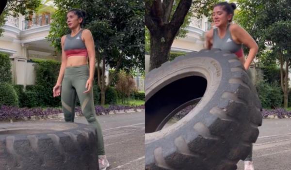 Fanny Ghassani Pamer Perut Rata saat Latihan Angkat Ban 80 Kg, Netizen Was-Was: Awas Turun Bero Neng
