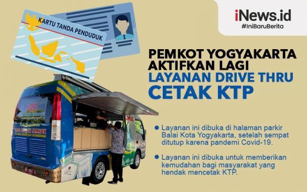 Infografis Pemkot Yogyakarta Aktifkan Lagi Layanan Drive Thru Cetak e-KTP