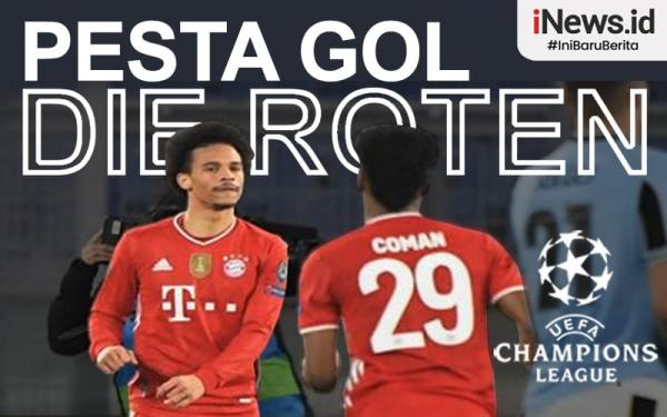 Infografis Bayern Munchen Pesta Gol di Markas Lazio