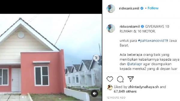 Gubernur Ridwan Kamil Giveaway 10 Rumah dan Motor untuk Pahlawan Covid