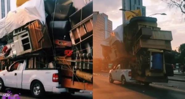 Viral, Pengemudi Ini Nekat Angkut Seluruh Isi Rumah Pakai Mobil Pikap