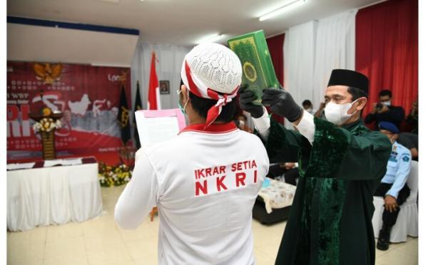 34 Napi Teroris di Lapas Gunung Sindur Ucapkan Ikrar Setia NKRI