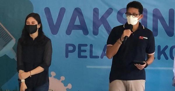Sandiaga Uno dan Angela Tanoesoedibjo Hadiri Vaksinasi Pelaku Parekraf, Meriah Ada Pemain Ikatan Cinta
