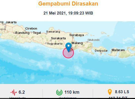 Gempa Terkini Di Blitar Magnitudo 6 2 Bmkg Hati Hati Gempa Susulan Bagian 1