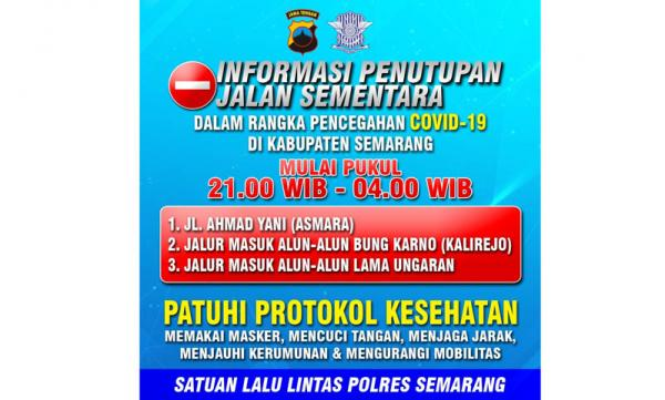 Tekan Penyebaran Covid-19, Sejumlah Jalan Protokol di Kabupaten Semarang Ditutup