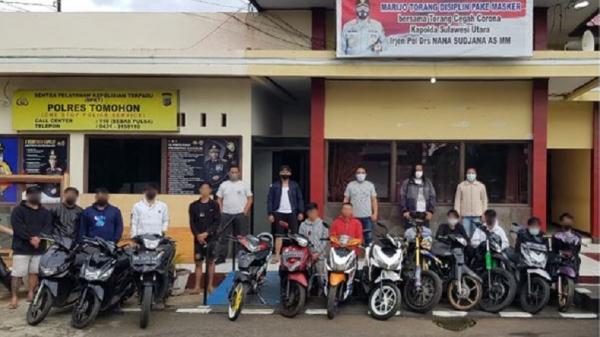 Diduga Akan Balap Liar, 12 Remaja Ditangkap Resmob Polres Tomohon