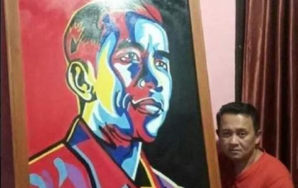 Viral Seniman Jual Lukisan Jokowi ke Gubernur Sulut, Mengaku untuk Menyambung Hidup