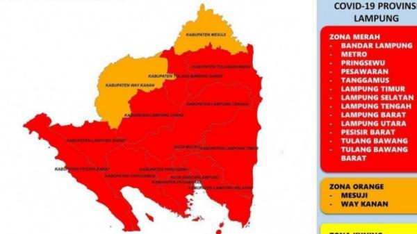 Tambah 6, Kini 13 Wilayah di Lampung Jadi Zona Merah Covid-19
