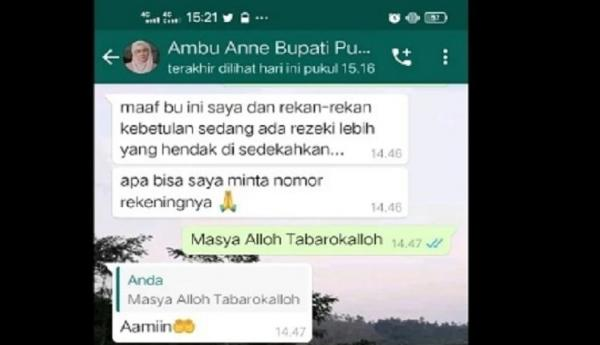 Awas! Beredar Pesan WhatsApp Oknum Catut Nama Bupati Purwakarta Janjikan Bantuan