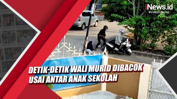 Detik-Detik Wali Murid Dibacok usai Antar Anak Sekolah di Palembang