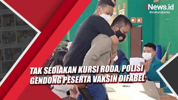 Video Polisi Gendong Peserta Vaksin Difabel di Semarang karena Tak Ada Kursi Roda