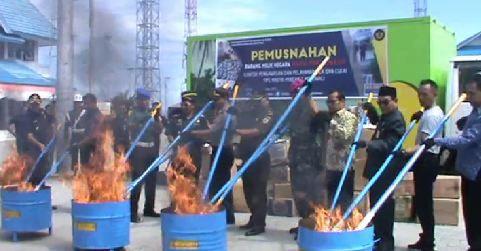 Bea Cukai Morowali Musnahkan 800.456 Batang Rokok Ilegal