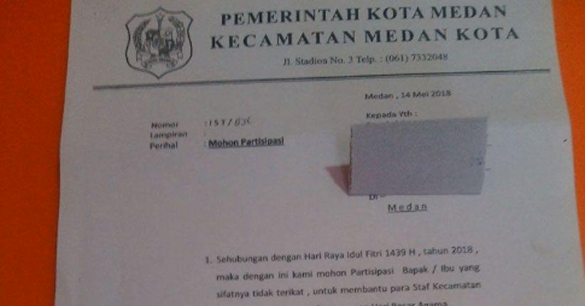 Demi Bayar THR Honorer, Camat Medan Kota Sebar Proposal ke Warga