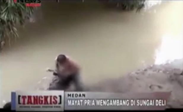 Mayat Pria Tanpa Identitas Ditemukan Mengambang di Sungai Deli