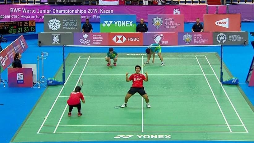 Kalahkan China 3-1, Indonesia Juara Kejuaraan Dunia Bulutangkis Junior 2019