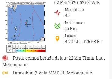 Gempa Hari Ini Magnitudo 4,5 Guncang Melonguane Kepulauan Talaud