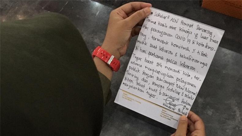 ASN Dapat Kejutan Surat Tulisan Tangan Wali Kota  Semarang di Hari Pertama Kerja