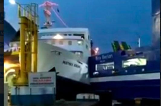2 Kapal Tabrakan di Pelabuhan Merak Banten, Tak Ada Korban Jiwa