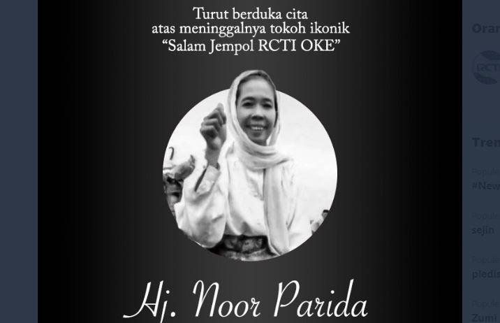 Acil RCTI Oke Noor Parida Meninggal Dunia, Netizen: Legend!