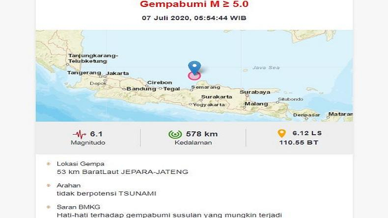 Gempa Magnitudo 6,1 Guncang Jepara Selasa Pagi Ini, BMKG: Tidak Berpotensi Tsunami