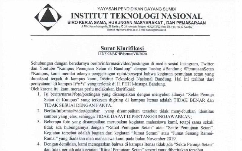 Geger Tudingan Gelar Ritual Sekte Pemuja Setan, Ini Klarifikasi Itenas Bandung