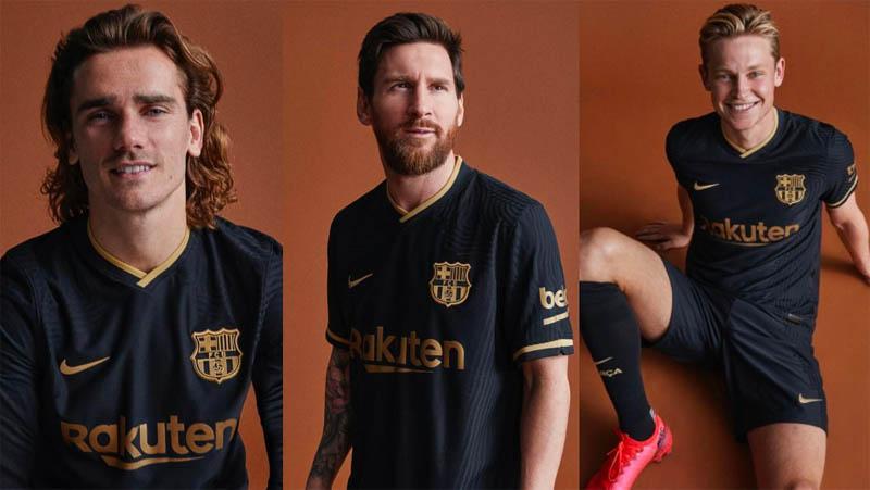 Dibalut Warna Hitam dan Emas, Jersey Tandang Barcelona Terlihat Elegan