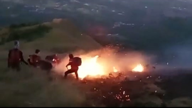 Puncak Gunung Penanggungan di Mojokerto Terbakar, 8 Pendaki Sempat Terjebak