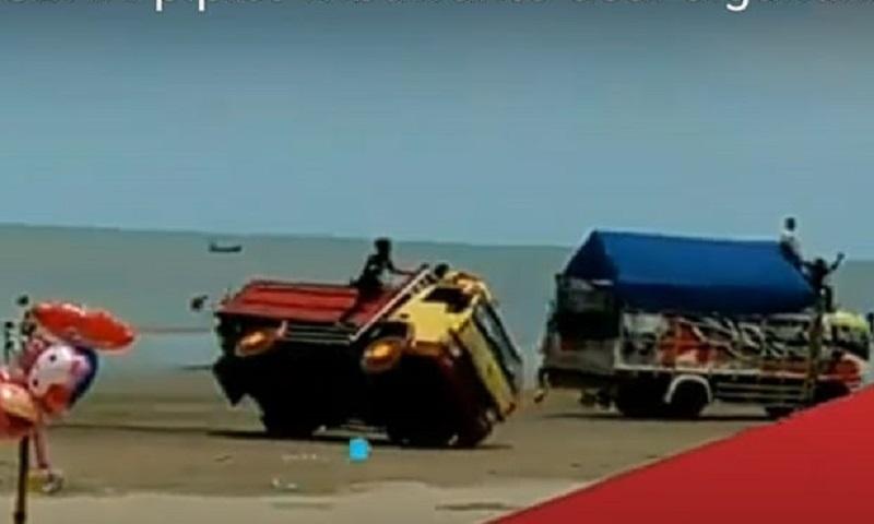 Jadi Arena Balap Truk, Objek Wisata Pantai Cemara Tuban Ditutup