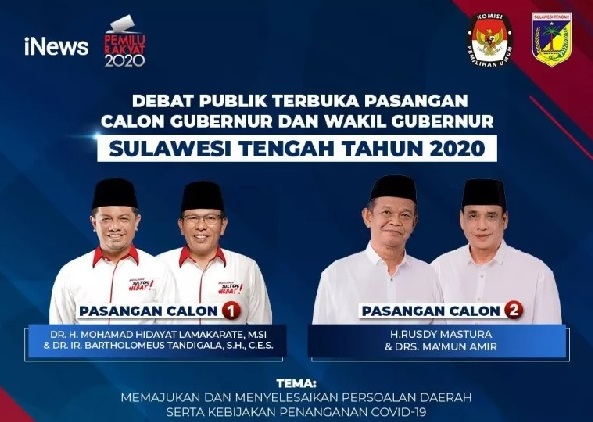 iNews TV Siarkan Debat Terbuka Pasangan Cagub-Cawagub Sulawesi Tengah
